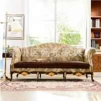 法式布艺沙发 欧式三人布艺沙发 别墅样板房家具定做家具皮布沙