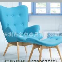 时尚简约布艺沙发椅 实木脚北欧风格2人位实木布艺沙发椅