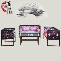 新中式实木沙发 别墅会所茶楼样板房客厅禅意家具定制 现代简约布艺沙发组合