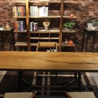 胡桃木全烘干实木大板简约原木北欧工业风设计师桌家用办公桌家具
