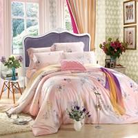 同盛祥家纺 出品新品天丝棉被套床单床上用品四件套   碧月羞
