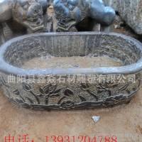 青石仿古鱼缸 花盆 做旧长方形水槽庭院石雕摆件直销定制